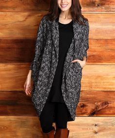 Black Melange Hooded Cocoon Cardigan