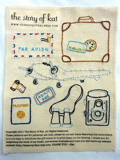 World Traveler Embroidery Pattern. $5.00, via Etsy.