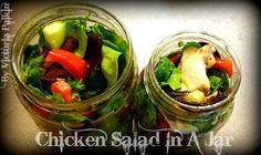 Chicken Salad In A Jar Recipe   By Victoria Paikin Salad In A Jar, Meals In A Jar, Chicken Salad, Poultry, Cucumber, Victoria, Lunch, Healthy, Easy