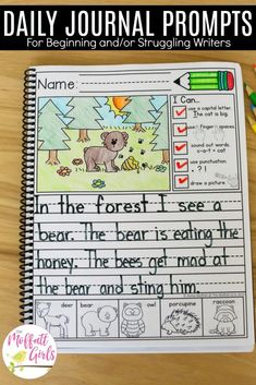 Daily journal prompts for writers in the primary grades. Includes a checklist, picture prompt, and picture words.Daily journal prompts for writers in the primary grades. Includes a checklist, picture prompt, and picture words. Work On Writing, Sentence Writing, Writing Workshop, Writing Centers, Writing Ideas, Mentor Sentences, Writing Checklist, Writing Lessons, Teaching Writing