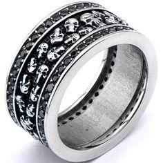 Inox 316L Stainless Steel Black Onyx Dual Row Skull Biker Ring | Body Candy Body Jewelry