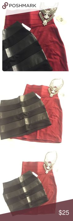 Bundle 2 NWT bandage pencil skirts These are NWT never worn and have been sitting in my closet for too long! All black skirt is more of a mini (one clothing size S), and Burgundy skirt is more bandage and will hold you in (max studio size XS). Both great skirts at a great price! Max Studio Skirts