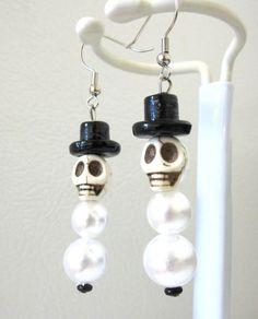Skull Snowman Earrings Day of the Dead Jewelry