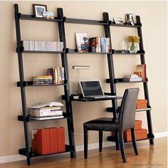 Ladder Bookshelf Large with Desk - Black