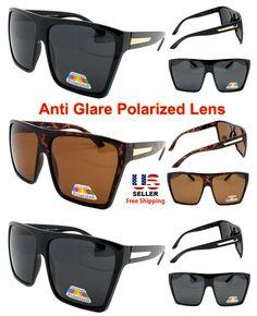 Flat Top Polarized Anti Glared Oversize Square Frame Lens Designer Sunglasses