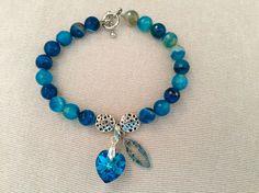 Classy Agate Dyed Blue religious #bracelet for $25. CODE:BRE1505. #ReligiousBracelet #PraynStyle #HandMade