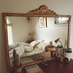 Reflections in an antique gold mirror. Reflections in an antique gold mirror. Gold Bedroom Decor, Gold Home Decor, Decoration Bedroom, French Home Decor, Decoration Design, Bedroom Vintage, Vintage Home Decor, Diy Home Decor, Ikea Bedroom