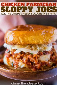Chicken Parmesan Sloppy Joes - Dinner, then Dessert Turkey Dishes, Turkey Recipes, Beef Recipes, Cooking Recipes, Recipies, Healthy Recipes, Yummy Recipes, Sloppy Joes Recipe, Turkey Sloppy Joes
