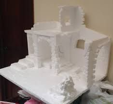 making accessories for christmas villages Nativity House, Christmas Nativity Scene, Christmas Villages, Rustic Christmas, Christmas Home, Christmas Crafts, Christmas Decorations, Christmas Ornaments, Styrofoam Crafts