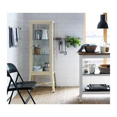 FABRIKÖR Glass-door cabinet - beige - IKEA  For the kitchen--a beautiul way to display glasswear