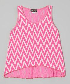 Look at this #zulilyfind! Neon Pink Zigzag Lace Hi-Low Tank by Lori & Jane #zulilyfinds
