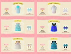 ACNH robe and long-sleeve dress QR codes Animal Crossing 3ds, Animal Crossing Qr Codes Clothes, Disney Princess Dresses, Disney Outfits, Frozen Outfits, Disney Codes, Ac New Leaf, Frozen Dress, Motifs Animal