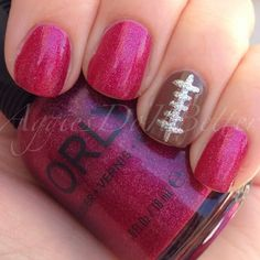 girly football nails by aggiesdoitbetter