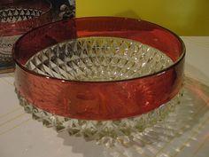 Indiana Glass ''Diamond Point'' Ruby Flashed Bowl