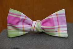 PInk, Green and White Plaid Bow Tie. $20.00, via Etsy.