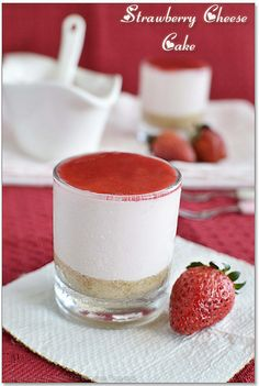 Eggless No-Bake Strawberry Cheese Cake makes for an easy Valentine's dessert.