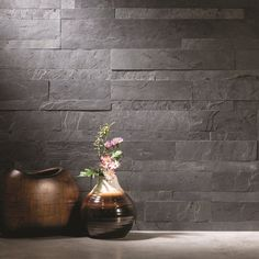 Update your kitchen by installing this Aspect Stone charcoal slate backsplash.