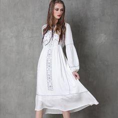 Cheap Blanco boho vestido maxi 2016 mujeres otoño vestido de Bohemia vestidos…