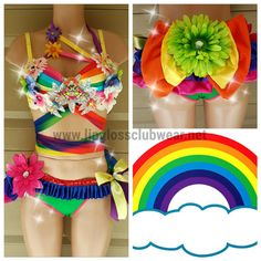 For more sexy costume and sexy outfit please check out our website: http://www.lipglossclubwear.net  Three piece handmade outfit with Rainbow theme. Includes a decorated bra top, a bustle skirt and a scrunch butt bikini bottom.  ======================================================================= PLEASE READ OUR DISCLAIMER BEFORE PURCHASING.  *This product is Made to Order. Processing time is between 1 - 2 weeks. *  - Rush order is available for an additional $40 (Prices vary depending on…