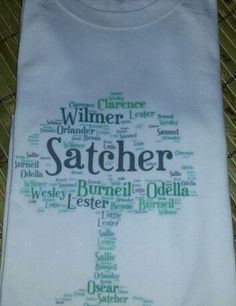 Awesomeness!  Tshirt made with family names in the shape of a tree. www.all-things-family-reunion.com