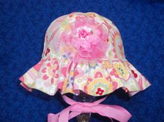 Infant Baby Sunhat Pink with Hearts by AdorableandCute on Etsy, $20.00
