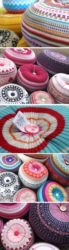 Lottie Loves...: {Home} Upcycled Knitted Poufs & Cushions