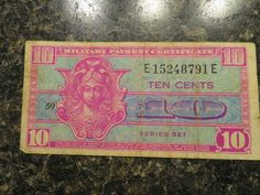 United State Ten Cents 1954 Series 521 Military Payment Certificate E15248791E