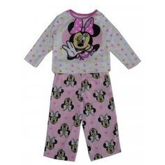 1577c40d7 Disney Little Girls White Pink Minnie Mouse Bow Print 2 Pc Pajama Set 2-4T