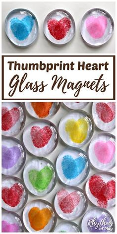 DIY Thumbprint Heart Glass Gem Magnets are the perfect homemade keepsake gift. Kids can make these thumbprint heart magnets for Valentine's Day, Mother's Day or Father's Day. Make some heart magnets with your children today! | #RhythmsOfPlay #AllTheLove #ValentinesDayGift #HeartsTheme #ThumbprintHeart #GlassMagnets #KidsCrafts #HomemadeGiftIdea #MothersDayGift #HomemadeMothersDayGift