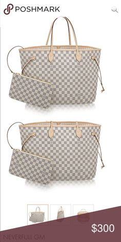 ISO Louis Vuitton Neverfull GM in Damier Azur Inspired/Replicas Only!!! Comment if you have one available. Would also consider brown color (as long as it is checkered not LV monogram print) Louis Vuitton Bags
