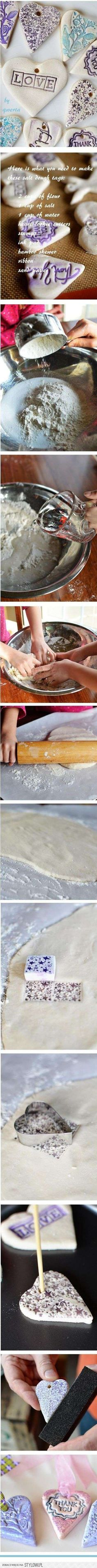 salt dough, thank you tags