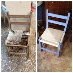 Creative Furniture Makeover Ideas & Designs For 2020 Cheap Furniture Makeover, Cool Furniture, Painting Fabric Chairs, Painted Dining Chairs, Painting Laminate Furniture, Woven Chair, Diy Chair, Cheap Home Decor, Decoration