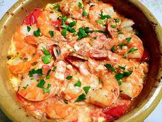 Feta, Fish Dishes, Greek Recipes, Paella, Lunch Recipes, Bon Appetit, Tapas, Shrimp, Seafood