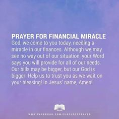 FINANCIAL MIRACLES!