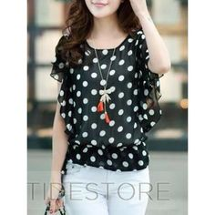 Polka dot blouse COVER PHOTO IS NOT EXACT, just a similar style  Brand- Trac. Semi-sheer, super cute and lightweight! I'm willing to negotiate, feel free to leave an offer :) Trac  Tops Blouses