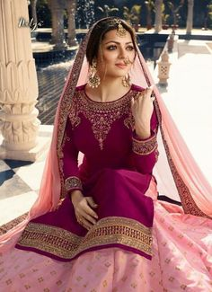 Pink Dual Tone Embroidered Lehenga Kurti Set is especially crafted for showcasing glamorous style and ethnic elegance with its unique embroidered combination of zari and resham thread work annotate. Salwar Suits Party Wear, Anarkali Suits, Punjabi Suits, Kurti Designs Party Wear, Kurta Designs, Pakistani Wedding Dresses, Indian Dresses, Drashti Dhami, Long Gown Dress