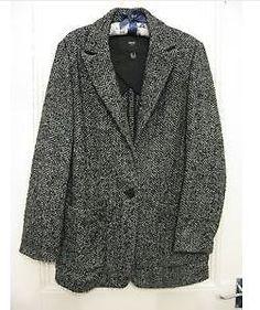 Mango Oversized Blazer Style Kate Moss Coat Jacket Grey size S 10, 12, 14