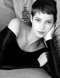 Christy Turlington with a pixie cut - so classy, so Jean Seberg