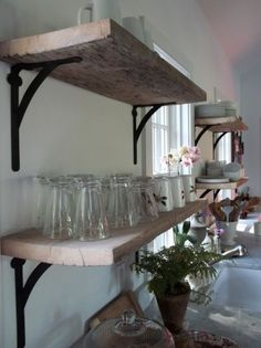 rustic open shelves in the kitchen