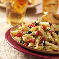Mediterranean Penne Pasta This sauce reminds me of tapenade. I think I can emulate this by simply adding tapenade to fresh hot pasta.