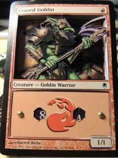 3d Magic the Gathering Handmade Life Counter Altered Art-Crazed Goblin- Spin Counter