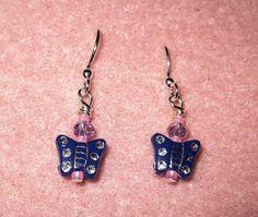 Cute Butterfly Earrings by colesbeadsandbaubles on Etsy, $5.00