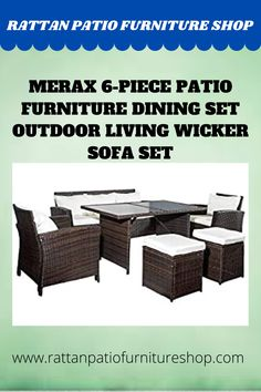 Dining set includes: 1 x 3-seater Sofa, 2 x Armchairs, 1 x Table, 2 x Stools. Contemporary design, combinatined of sofa and dining set, ideal for patios, backyards, gardens, balconies, poolside and more Constructed with durable powder-coated steel frames, woven brown PE rattan, cushions with removable covers and 5mm black tempered glass for durability. Wicker Sofa, Rattan Furniture, Outdoor Furniture Sets, Outdoor Decor, Balconies, Sofa Set, Backyards, Dining Set, Armchairs