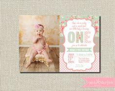 First Birthday Invitation Shabby Chic por PinkStarfishDesigns