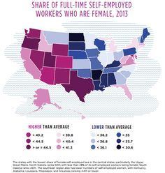 Full-time self-employed female workers by state.