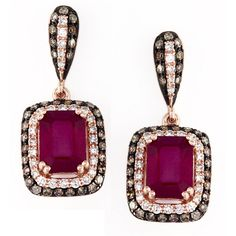 EFFY Ruby and 5/8 ct. tw. white and cocoa diamond Earrings in 14K Rose... (29 700 UAH) ❤ liked on Polyvore featuring jewelry, earrings, red, long earrings, emerald cut diamond earrings, 14k earrings, 14 karat gold earrings and diamond accent earrings
