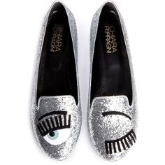 Chiara Ferragni Flirting Flats (€250) ❤ liked on Polyvore featuring shoes, flats, glitter, glitter shoes, glitter flat shoes, chiara ferragni shoes, flat pumps and flat heel shoes
