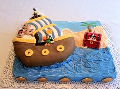 regular Wilton Pirate Ship cake pan customized to look like Bucky and the whole gang, Jake, Izzy, Cubby & Scully, all molded from fondant.