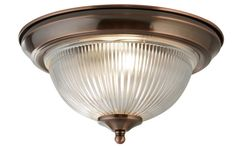 Antique Brushed Copper IP44 Bathroom Flush Ceiling Light Clear Glass Shade from Lights 4 Living