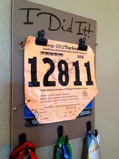 Running Medal holder and Running Race bib Holder - I Did it! - 3 hooks
